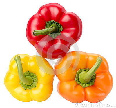 Free Red, Yellow And Orange Peppers Isolated On The White Background Stock Photos - 54040993