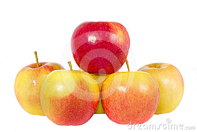 Red with yellow apples