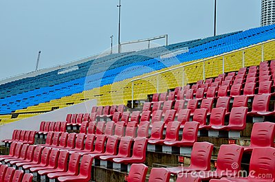 Colorful seats at grandstand