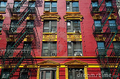 Red and yellow brick apartment