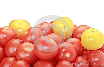 Red And Yellow Cocktail Tomatoes Isolated On White Royalty Free Stock Image - Image: 15498986