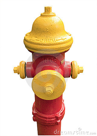 Red and yellow fire hydrant, isolated