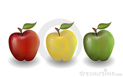 Red yellow and green apple