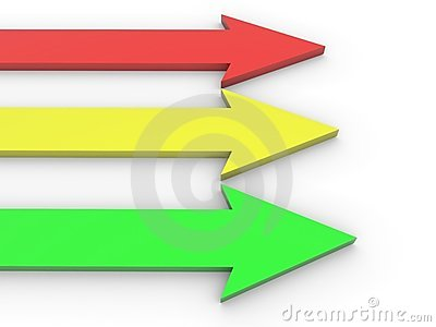 Red, yellow and green arrows on white