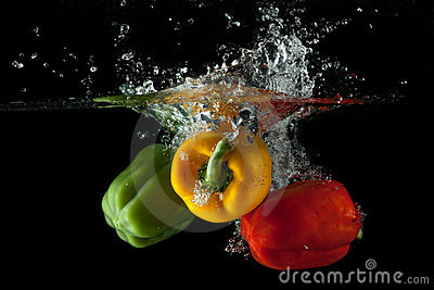 Red, Yellow, Green Pepper Splash