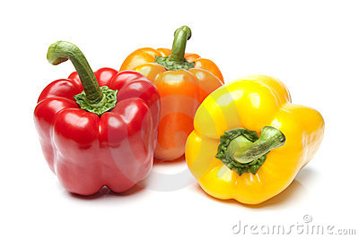 Red Yellow and Orange Bell Peppers on Isolated Whi