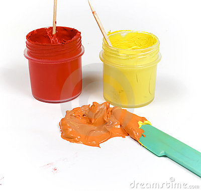 Red and yellow paint mixed