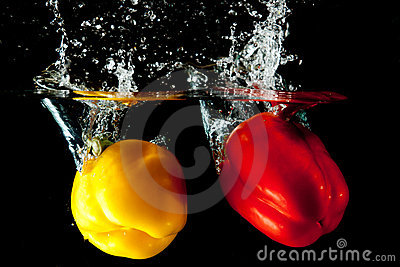 Red and Yellow Pepper Water Splash