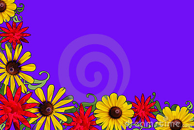 Red, Yellow, and Purple Floral Border
