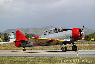 Red Yellow T-6 Texan Editorial Photography