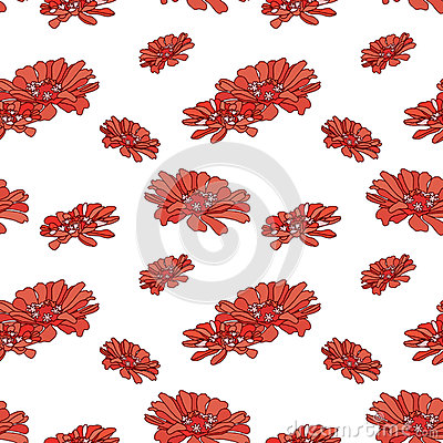 Red zinnias pattern