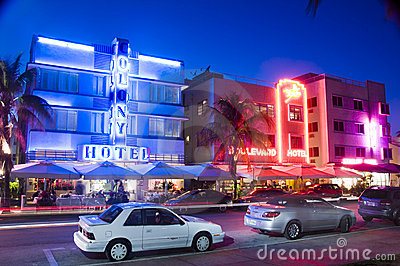 Redactie Miami van het zuidenstrand hotels Redactionele Stock Afbeelding