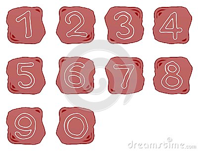 A Reddish Brown Stone of Alphabet Numbers 0-9