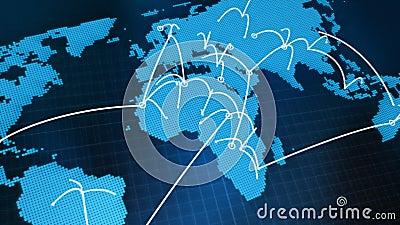 Rede do gráfico do mapa do mundo ilustração do vetor
