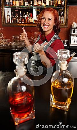 Redhead barmaid