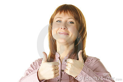 Redhead with both thumbs up