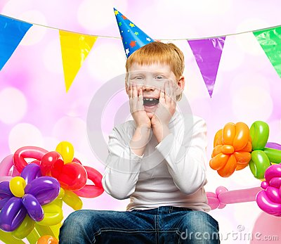 Redhead Boy Among Balloons Stock Photo Image 39554224