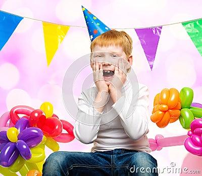Redhead Boy Among Balloons Stock Photo Image 39554224