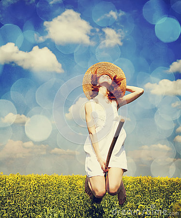 Free Redhead Enchantress Fly Over Spring Rapeseed Field At Broom. Royalty Free Stock Photography - 28759417