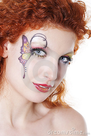 Redhead girl with art makeup