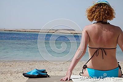 Redhead girl on beach