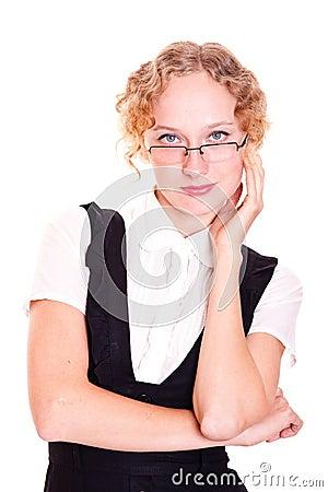 Redhead girl in glasses