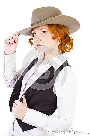 Redhead girl in hat