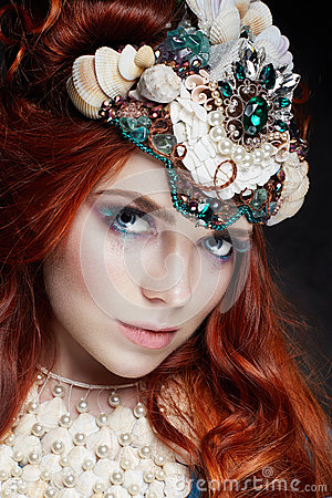 Free Redhead Girl With Bright Makeup And Big Lashes. Mysterious Fairy Woman With Red Hair. Big Eyes And Colored Shadows, Long Lashes Stock Images - 94323014