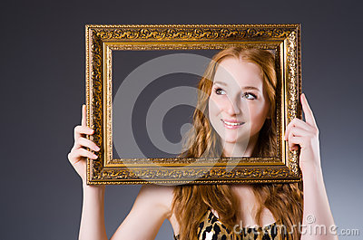 Redhead with picture frame