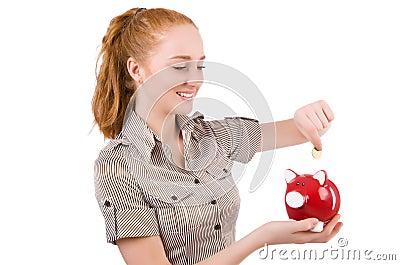 Redhead with piggybank
