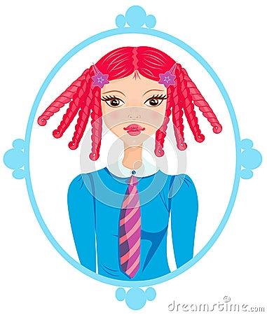 Redhead schoolgirl in a blue frame