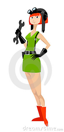 Redhead service girl in helmet