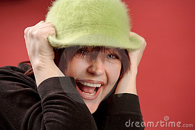 Redhead woman in green hat