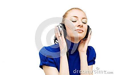 Redhead woman with headphones