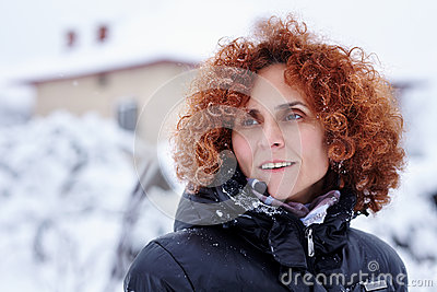 Redhead woman, winter portrait