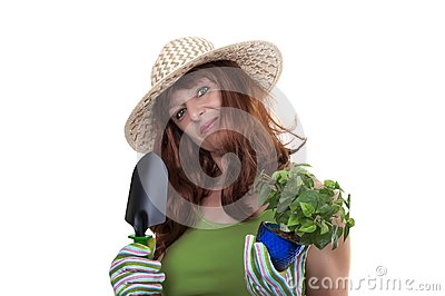 Redhead woman working in the garden