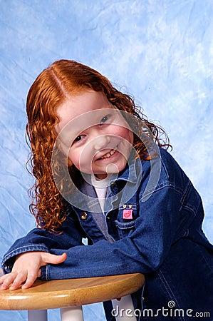 Redheaded girl smiling