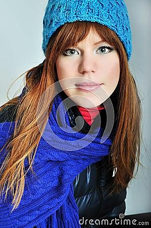 Redheaded winter girl