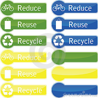 Reduce reuse and recycle buttons.