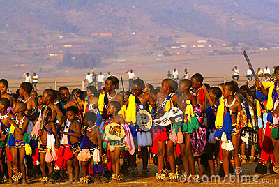 Reed Dance in Swaziland (Africa) Editorial Photo