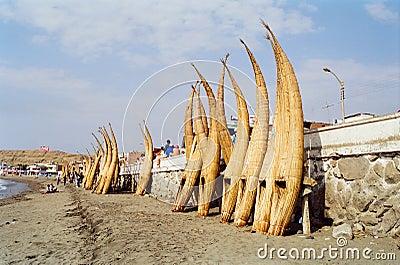 Reed Fishing Boats, Peru Editorial Photo