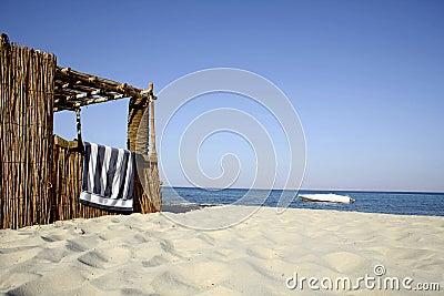 Reed hut on beach, red sea