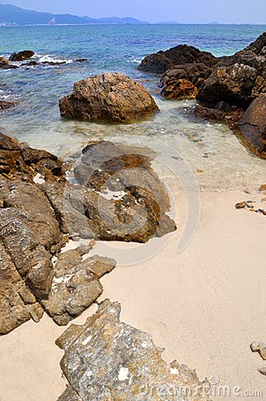 Reef and sand on beach
