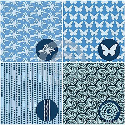 Reeks blauwe naadloze patronen