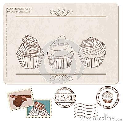 Reeks cupcakes op oude prentbriefkaar, met zegels