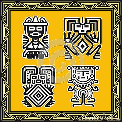 Reeks oude Amerikaanse Indische menselijke patronen