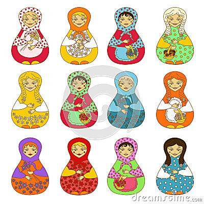 Reeks van geïsoleerde Russische poppenmatrioshka