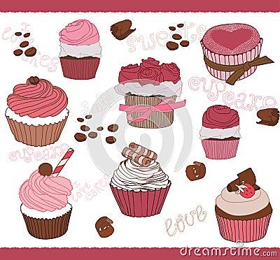 Reeks van Leuke Cupcakes voor ontwerp