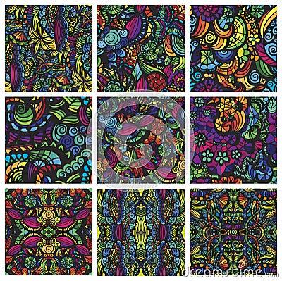 Reeks van negen hand-drawn naadloze patronen