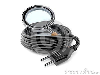 Reel of electric cable with magnifying glass Stock Photo